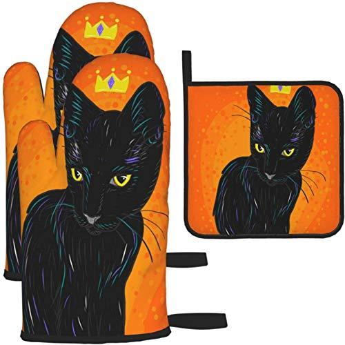 Lindo gato negro con corona naranja guantes de horno y porta ollas 1420 piezas Juego de guantes de cocina y porta ollas antideslizantes para cocinar, hornear, asar a la parrilla, como color, talla úni