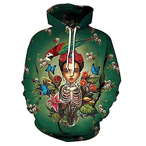 Bkckzzz Galaxy Hoodie Unisex 3D personalisierte Kunst gedruckt Kapuzenpulli Casual Pullover Hoodie mit großen Taschen S-3XL @ 2XL / 3XL_Beauty_Skull