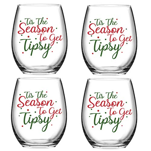 Set of 4 Tis the Season to Get Tipsy Christmas Stemless Wine Glass for Funny Christmas Holiday Gifts 15 Ounce