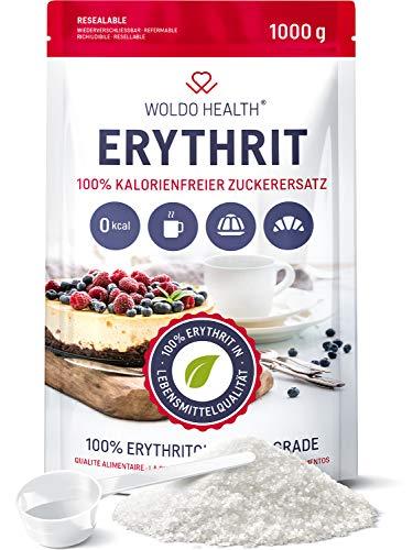 Erythrit 1kg Zuckerersatz ohne Kalorien vegan & glutenfrei mit 70{f01aa0f4d5e9a86021e141665a6e472c2a32b3cddb4536a8834a18b42c312780} der Süßkraft von Zucker