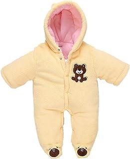 Morbuy Baby Overall Strampler Unisex Baby Strampelanzugmit Kapuze Schneeanzüge Fleece Strampler Spielanzug Footed Jumpsuit Winter Onesie Outfits