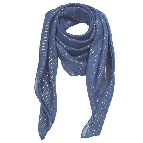 Superfreak® Baumwolltuch mit Gold Lurex - Tuch - Schal - 100x100 cm - 100% Baumwolle Farbe: blau-navy