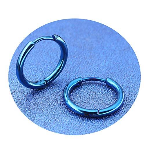 JY Novedad Pendiente de acero inoxidable para hombres y mujeres Pendientes de aro con forma de círculo/Azul / 2.0x10mm