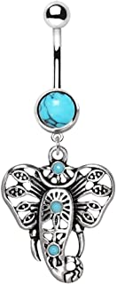 Synthetic Turquoise Stone Festive Elephant Dangle 316L Surgical Steel Belly Button Rings 14 Gauge 3/8 Inch Navel Barbell B593