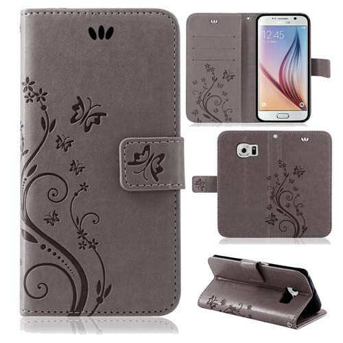 betterfon | Flower Hülle Handytasche Schutzhülle Blumen Klapptasche Handyhülle Handy Schale für Samsung Galaxy S6 Grau