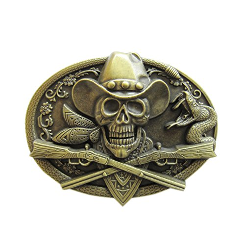 New Vintage Bronze Plated Skull Rifles Cowboy Metal Oval Hebilla del cinturón Belt Buckle