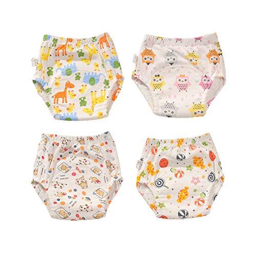 Pantalones de Entrenamiento para Bebé, Morbuy Reusable Calzones de Entrenamiento Ropa Interior de Entrenamiento Bragas de Aprendizaje para Niño Niña, 6-30 Meses, 4 Piezas (M (90),H)