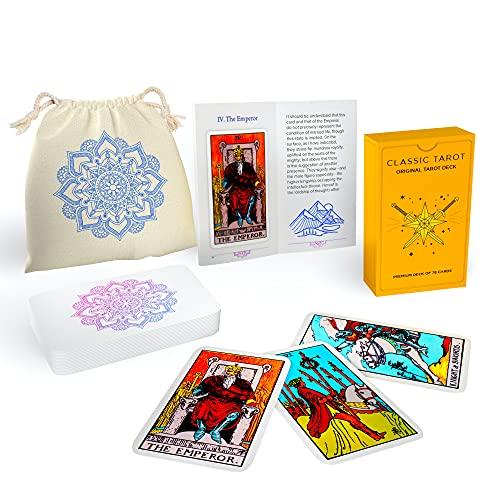 Sagesight Classic Design Tarot Cards Deck with Guidebook & Linen Carrying Bag - Original Pamela Colman Smith Artwork - Vibrant Ink & Rich Colors - Premium Linen Finish - Durable Tarot Deck (Light)