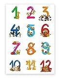 Hochwertiges Lernposter für Kinder Tierische Zahlen, 50 cm
