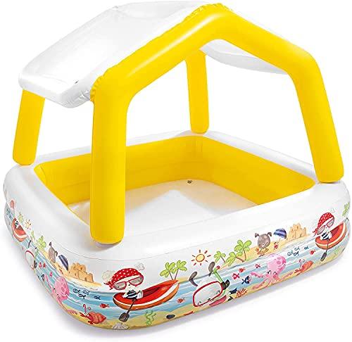 Aufstellpool Babypool Pool Planschbecken Kinderpool Kinderplanschbecken Schwimmbecken mit aufblasbarem Sonnen-Dach Sonnenschutz für Baby-s Kind-er Terrasse Balkon Garten Größe ca. 157 x 157 x 122 cm