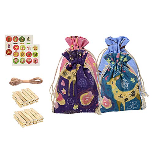 Fasclot Christmas Pattern Candy Bag 1-24 Advent Calendar Bundle Cotton Linen Gift Bag Home & Garden Home Decor