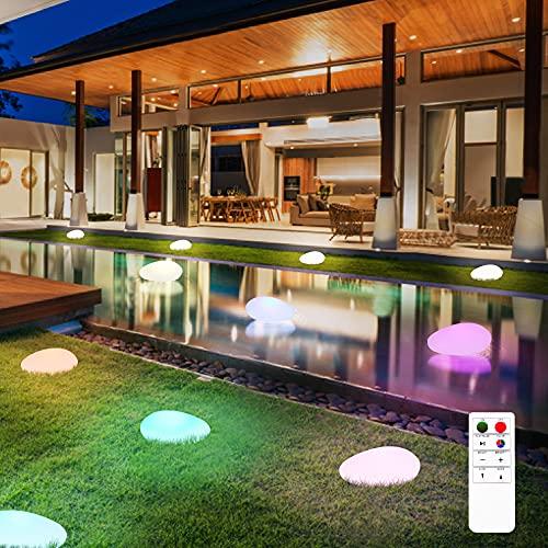 3 luces flotantes para piscina, RGB que cambian de color, IP66, para exteriores, impermeables, con Lámpara de piedra solar con mando a distancia, LED para playa, piscina, estanque, patio