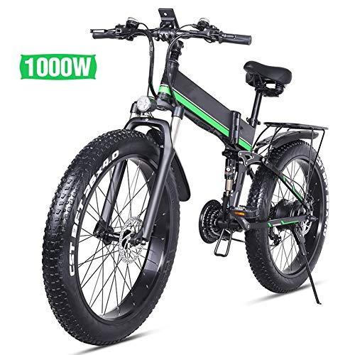 ZXL Elektrisches Mountainbike1000w 13ah Urban Commuter Klapp-E-Bike, 26 Inth 21-Gang-Snowbike Shimano1000w / 36v Abnehmbare Lithiumbatterie Hydraulische Scheibenbremsen,Grün