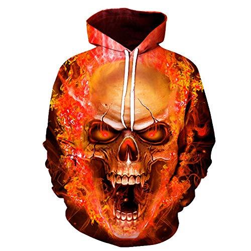 WYxiaobaozi 3D Printed Sweatshirt, Unisex Mode 3D Gedrukt Oranje Vlam Schedel Losse Hippie Pullover Hooded Hoodie Sweatshirt Sport Casual Met Zakken Paar Honkbal Uniform Voor Student Top Coat