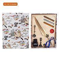 家の装飾書道ペン、ギフトボックス付きヴィンテージステンレス鋼レトロクイルペンフェザーペン、描画のための書道クイルディップペン手書き(Golden)