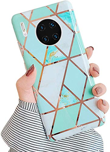Uposao Kompatibel mit Huawei Mate 30 Pro Hülle Silikon Durchsichtige Schutzhülle mit Muster Motiv Marmor Hülle Weiche TPU Slim Stoßfest Ultra Dünn Handyhülle Backcover Tasche,Grün