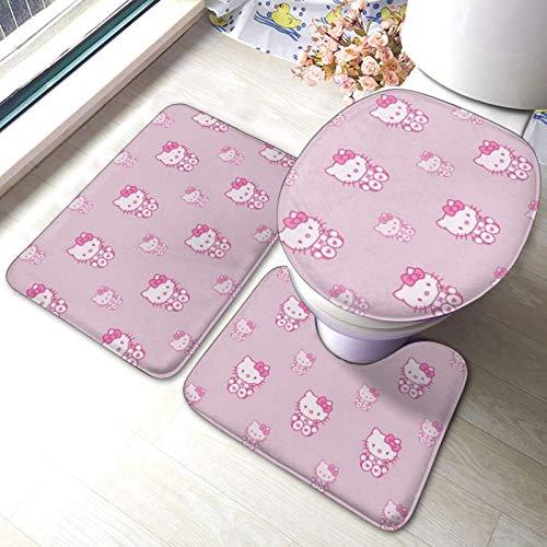 huancheng Hello Kitty - Juego de alfombras de baño (3 piezas, alfombrilla de baño, antideslizante, alfombrilla de baño, almohadillas de contorno o tapa)