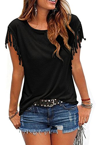 Camiseta Mujer Manga Corta Talla Grande Verano Casual con Flecos Borlas Algodón Cuello Redondo T Shirt Top Black XS