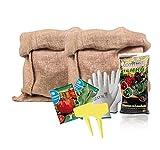 Kit huerto urbano con Sacos de Yute para plantar en Casa, Jardin o terraza - Incluye semillas y abono - 100% Naturaly Ecologico - Ideal para regalar