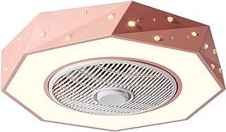 Ventilador De Techo con LED Luz, Atenuación De 3-Colores Mando A Distancia Luz del Ventilador Velocidad del Viento Ajustable Cuarto De Los Niños Ventilador De Bajo Ruido Lámpara-58CM,Rosado