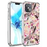 UZEUZA Funda compatible con iPhone 12 Pro Max suave TPU transparente a prueba de golpes, protección en cuatro esquinas, color rosa Victoria Secret Palm Leaves