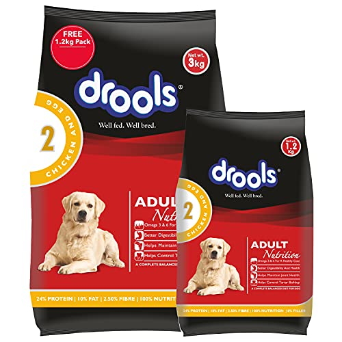 Drools Chicken and Egg Adult Dog Food, 3 kg with Free...