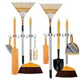 Broom and Mop Holder Stainless Steel Wall Mounted,Metal Mop Broom Holder Organizer Storage Rack Wall Mount, Cleaning Tool Holder Organizer with 3 Clips 4 Hooks(2Pack)