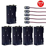 Yosawa 5-Pieces 2 x 1.5V(3V) AA Battery Holder Case,Black Plastic DIY Battery Storage Box with Standard Snap Connector (AAK2)