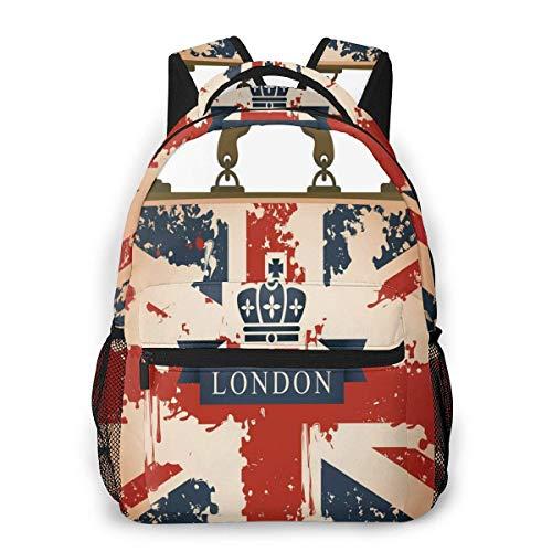 Lawenp Mochilas Escolares Maleta de Viaje Vintage con Bandera británica Cinta de Londres e Imagen de Corona para niñas Adolescentes y niños Mochilas para Estudiantes de 16 Pulgadas Mochila Informal
