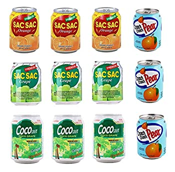 [LOTTE] Korean Popular Fruit Drink AYCE - LOTTE Drink Combo - Sac Sac Orange 3Cans  Grape 3Cans  Coco Grape 3Cans  and Crushed Pear 3Cans