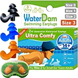 WaterDam Swimming Ear Plugs for Adults and Kids 14yr up – 3 Pairs Ultra...