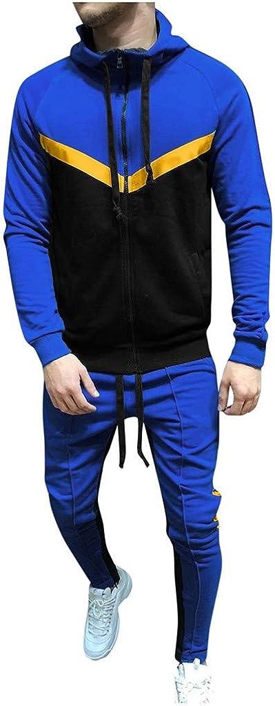 Men Long Sleeve Jogging Suit Zipper Patchwork Sweatshirt Top Pants Tracksuit Sport Set Casual Sweatsuits with Pocket