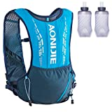 TRIWONDER Mochila de Hidratación 5L Tactica Chaleco Trail Running Ligero para Ciclismo Correr Marathoner Senderismo Hombre Mujer al Aire Libre (Azul - con 2 Botellas de Agua de 420ml)