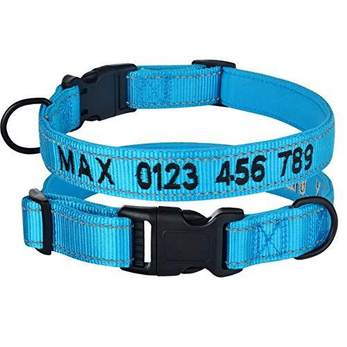 LCZMQRCLMZRQ Verstelbare nylon halsband Gepersonaliseerde geborduurde gewatteerde halsband Puppy ID-halsbanden Reflecterende, blauwe gewatteerde halsband, S 25-35cm