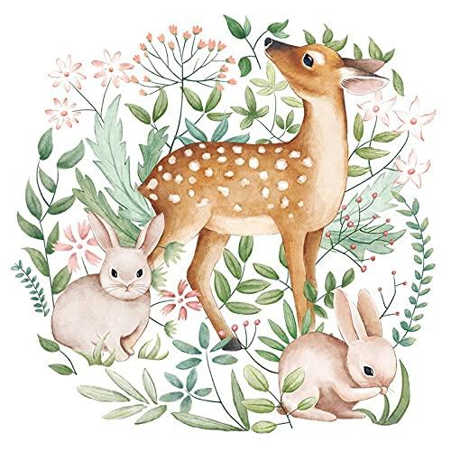 Nordic Cartoon Animals Wall Sticker Deer Rabbit Fox Garland Sticker Kids Bedroom Living Room Home Decor Nursery Decals 60 * 90cm