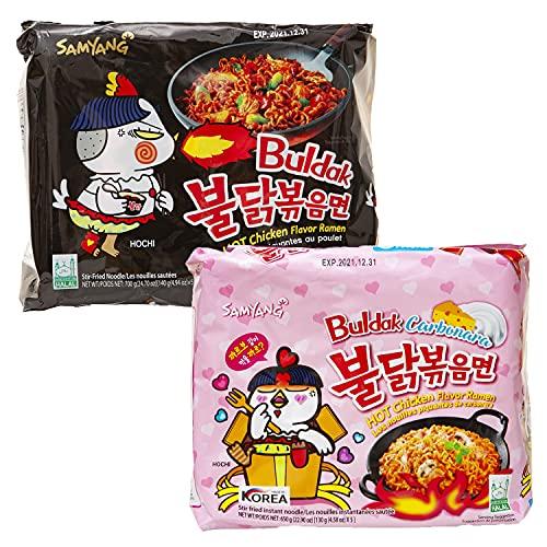 Kennenlernbox 10er Ramen Box | Samyang Hot Chicken Ramen Combo | 5er Pack Hot Chicken & 5er Pack Carbonara