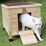 Rockever Small Animal Houses Outdoor, Wooden Rabbit Hutch Elevated with Door, Feral Cat Shelter DIY Color