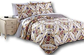 DaDa Bedding Elegant Bedspread Set - Wisteria Roses Floral Quilted Coverlet - Multi Color Dusty Rose Mauve Purple - Full - 3-Pieces