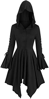 iCJJL Womens Vintage Cloak Long Sleeve High Low Hooded Sweater Plus Size Retro Ribbed Pullover Sweatshirt Costume Blouse