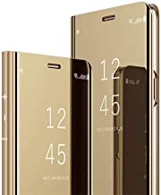 Samsung Galaxy J8 2018 Case Cover EMAXELER Stylish Mirror Plating Flip Full Body Protective Reflection Ultra Thin Hard Anti-Scratch Shockproof Frame for Samsung Galaxy J8 2018 Mirror:Gold