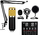 MWKL Paquete de micrófono de Condensador actualizado, Kit de micrófono BM-800 con Tarjeta de Sonido en Vivo, Tarjeta de Sonido V8 Que se Puede conectar y Cargar para Studio Recordi