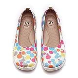 UIN Bubble Mädchen Leicht Ballerinas Loafer Schuhe Slip On Schuhe Lässige Wanderschuhe Reise Schuhe Segelschuhe Gestrickt Weiß(34)