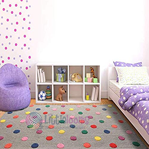 Littlelooms Handmade Kids Carpet & Rugs for Play/Crawling Rattle/Baby Play Carpet Multifunction Mat for Toddler & Kids Play Room Home Decor/Nursery Kids Room 0-12 Years (Candy Polka Rug, 3 x 5 feet)