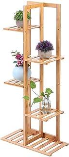 Support de Plante en Bambou, Étagère à Fleurs, Support de Fleurs 5 Niveaux Organisateur de Pots de Plante Affichage pour B...