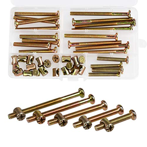 Baby Bed Crib Screws Hardware Replacement Kit, QLOUNI Hex Drive Socket Cap Screws 25-Set, M6x40mm/ 50mm/ 60mm/ 70mm/ 80mm Barrel Nuts Assortment Kit for Beds Headboards Chairs Furniture