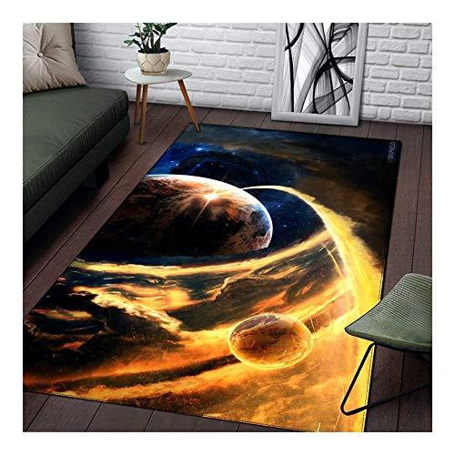 WGG 3D Planet Universum Teppich Wohnzimmer Teppichboden Schlafzimmer Bodenmatte Aero Teppiche Weiches Parlour Blau Teppiche Home Decor (Color : RUGTT6040, Tamaño : 122x183cm)