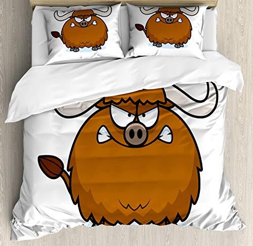 ABAKUHAUS jak Dekbedovertrekset, Angry Wild Bull Hoorns Cartoon, Decoratieve 3-delige Bedset met 2 Sierslopen, 200 cm x 200 cm, Chocolate White