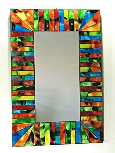 funky global Rainbow Spiegel, rechteckig, Mehrfarbig Handgefertigtes Fairtrade, 60 x 40 cm