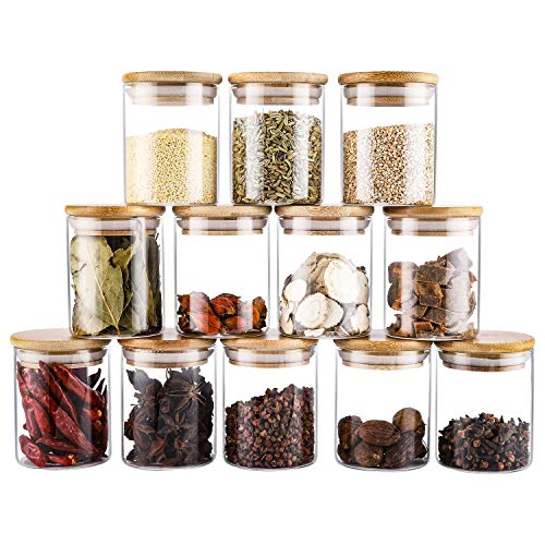 12Pcs Hermetico Tarro de Vidrio de Almacenamiento, 7.5oz Pequeños Cristal Frascos de Especias con Tapas de Bambú - Cocina Bote de Especias Contenedores para Comida Té & Azúcar