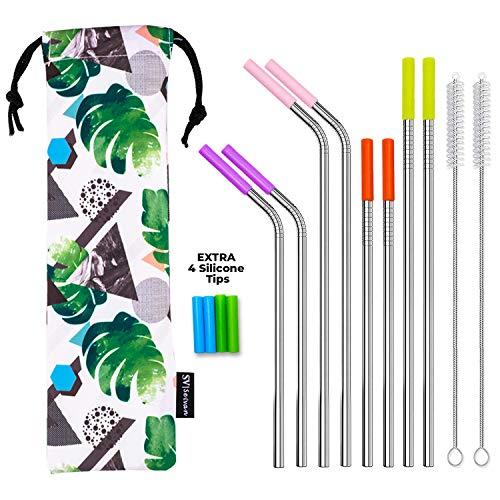 SEIVAN STRAWS Designer Pouch Set of 8 Stainless Steel Reusable Metal Straws with Silicone Tip-Drinking Straws for 30oz 20oz Yeti RTIC Tumbler - 8 Steel Straws, 12 Silicone Tips, 2 Straw Cleaning Brush